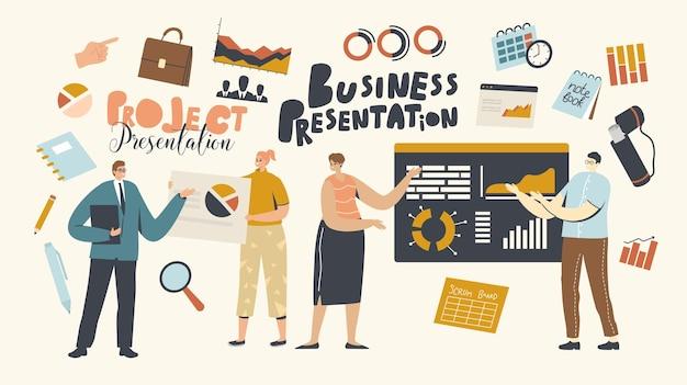 ビジネスプレゼンテーション、コンサルティング。会社の戦略と財務指標を説明する従業員にチャートとグラフを指す会社のリーダーまたはコーチのキャラクター。漫画の人々のベクトル図