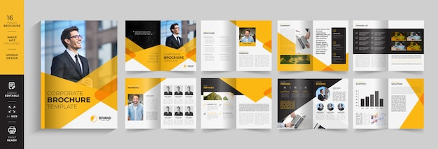 Business presentation, corporate catalogue template with 16 pages ready to print. modern design
