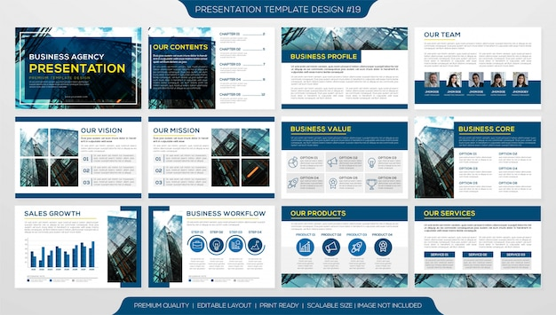 Business presentation or corporate profile with multiple pages template