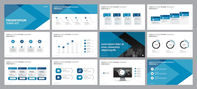 インフォグラフィック要素を持つビジネスプレゼンテーションデザインコンセプト