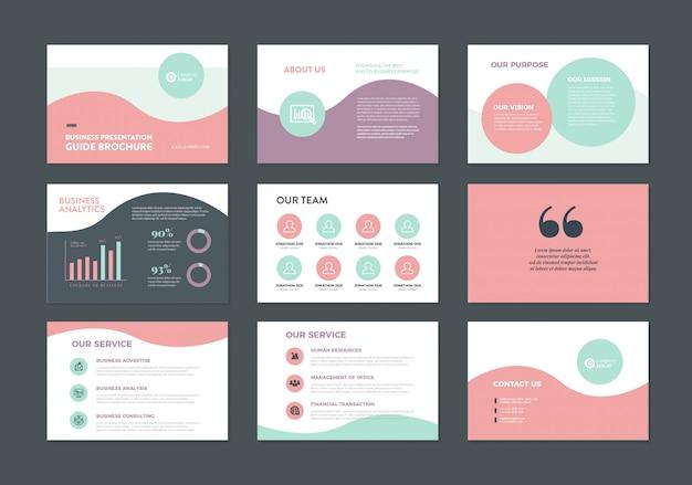 비즈니스 프레젠테이션 디자인 슬라이드 템플릿 | 판매 가이드 슬라이더 프리미엄 벡터