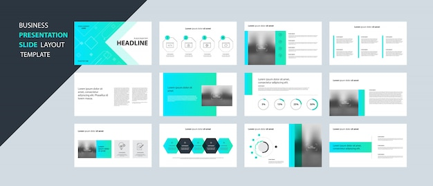 Business presentation design template concept with infographic elements