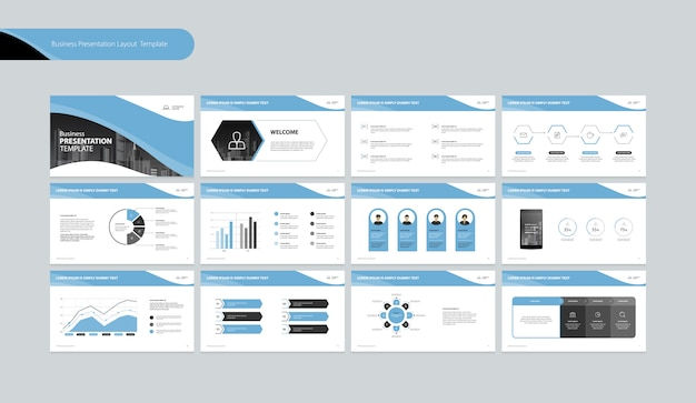 Business presentation design template and page layout design for business annual report