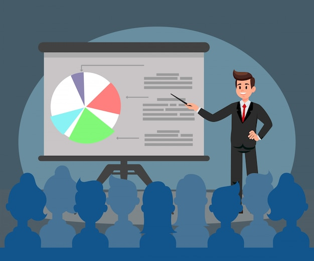 Business presentation flat vector illustration