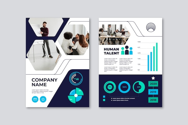 Business presentation flyer template people in office