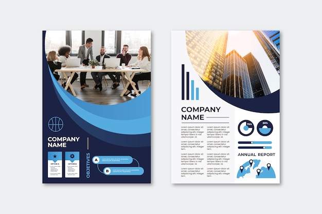 Modello di volantino presentazione aziendale con la città