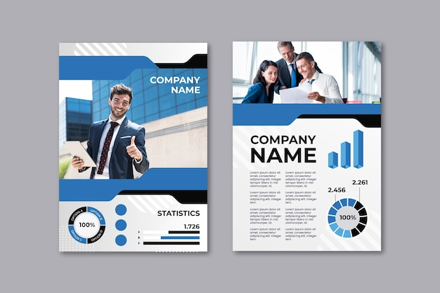 Business presentation flyer template with co-workers