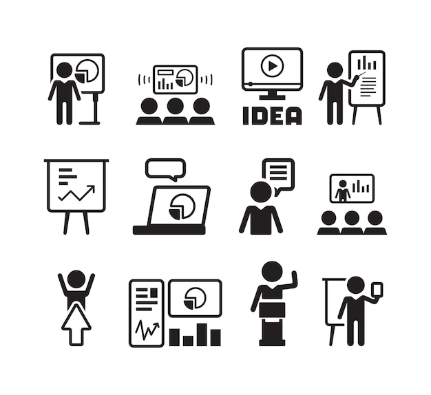 Business presentation icon. training teacher talking flipchart businessman speaker conference hall mentor group people symbols. illustration businessman presentation, discussion and training