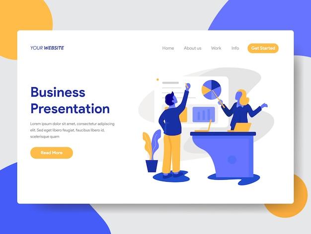 Business presentation illustration for website page