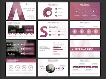 Business presentation infographic elements template set, annual report corporate horizontal brochure design template