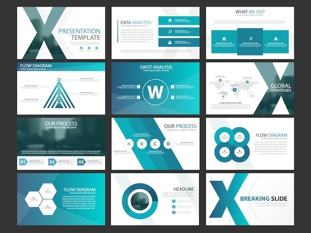 Набор шаблонов инфографических элементов бизнес-презентации, годовой отчет корпоративного горизонтального шаблона брошюры