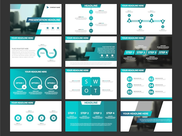 Business presentation infographic elements template set, annual report corporate horizontal brochure design template