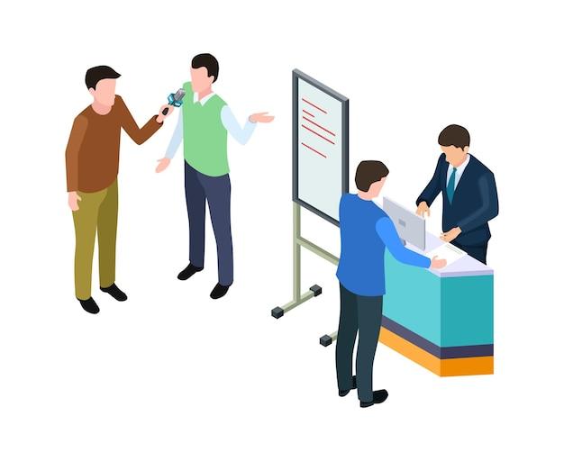 Деловая презентация. изометрические бизнесмен, парень дает интервью. конференция или реклама продукта, векторная иллюстрация маркетинга. изометрическая доска для брифингов и презентаций менеджера
