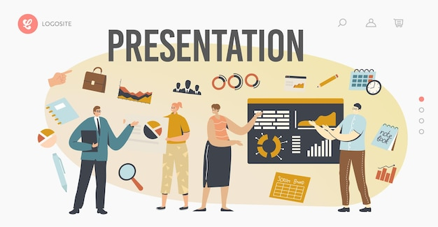 ビジネスプレゼンテーションランディングページテンプレート。会社の戦略と財務指標を説明する従業員にチャート上で指し示す会社のリーダーまたはコーチのキャラクター。漫画の人々のベクトル図
