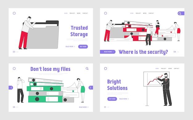 Business presentation landing page template set