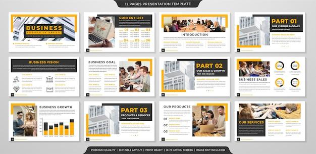 비즈니스 프레젠테이션 및 회사 프로필에 대한 깨끗한 개념과 미니멀 스타일 사용으로 비즈니스 프레젠테이션 레이아웃 템플릿 디자인