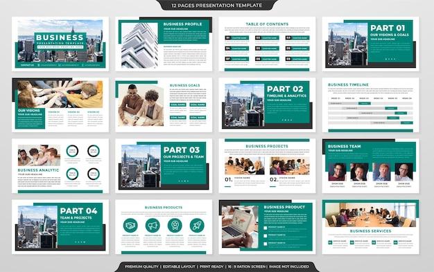 ミニマリストスタイルとビジネス基調講演スライドと年次報告書のためのクリーンなコンセプトの使用を備えたビジネスプレゼンテーションレイアウトテンプレート