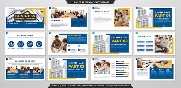 Business presentation layout template with modern and