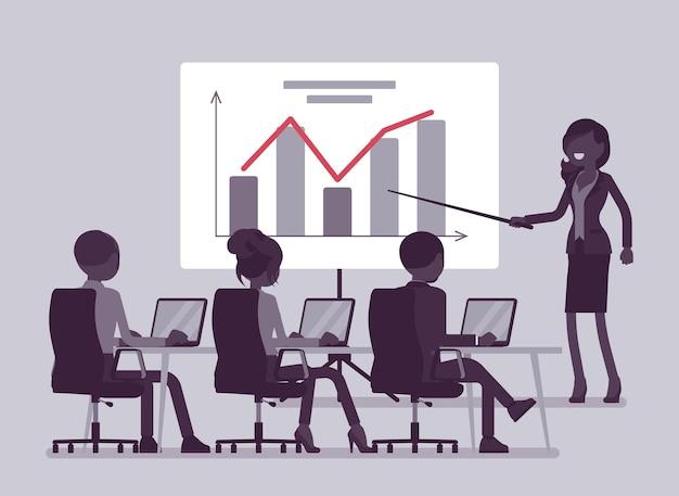 Деловая презентация, встреча в офисе. сбор для продажи идеи или продукта, тренинги, выступления для мотивации аудитории компании, обучение сотрудников. векторная иллюстрация, безликие персонажи