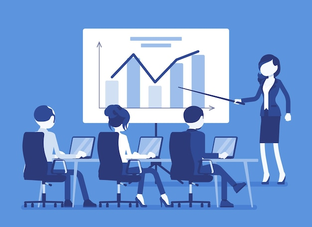 Business presentation, meeting in office. gathering for selling idea or product, training purposes, speech to motivate company audience, tutorial for workers. vector illustration, faceless characters