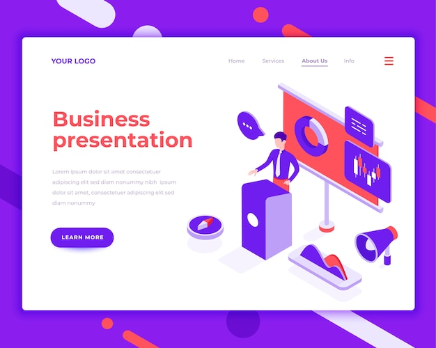 Business presentation people and interact with graphs isometric vector illustration