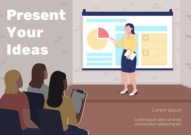 Business presentation poster flat vector template. professional seminar. brochure, booklet one page concept design with cartoon characters. present your ideas flyer, leaflet with copy space