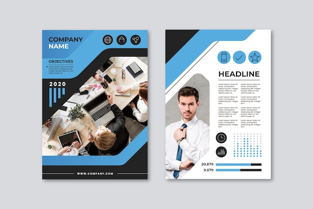 Business presentation poster template with co-workers