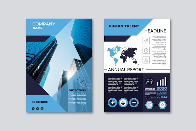 Business presentation poster template with office buildings