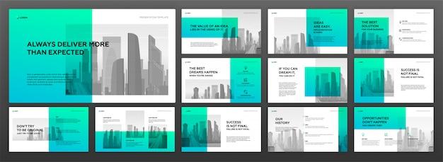 Business presentation powerpoint templates set