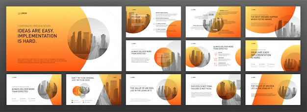 Business presentation powerpoint templates set