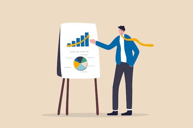 Business presentation, professional speaker to present work  concept.