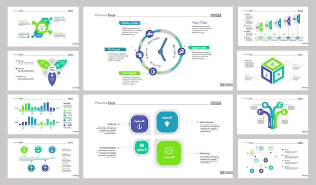 Business presentation slide design set