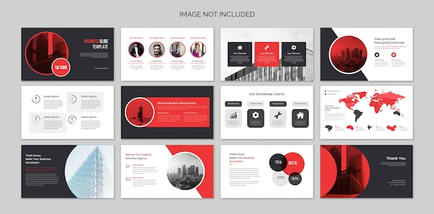 Business presentation slides with infographic elements