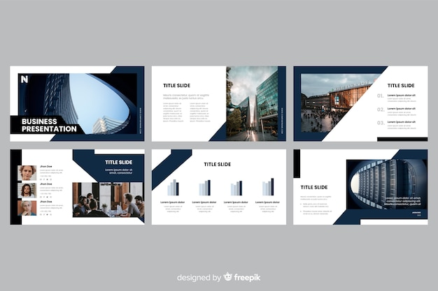 Business presentation slides with photo