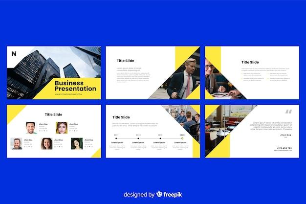 사진과 함께 비즈니스 프레젠테이션 슬라이드