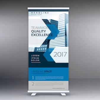Бизнес-презентация standee display roll up баннер дизайн векторный шаблон