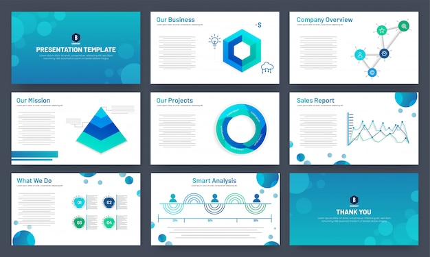 Business presentation template design with infographic elements