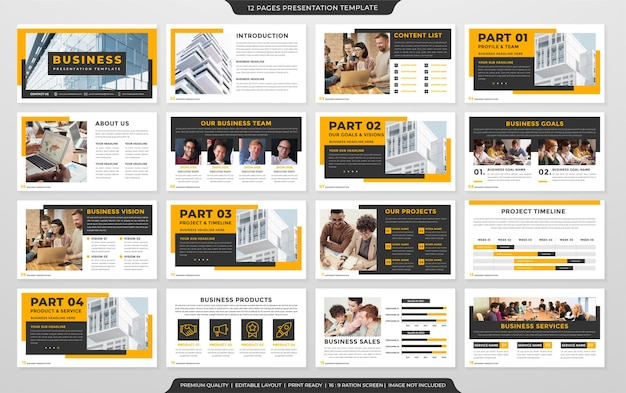 비즈니스 포트폴리오 및 연례 보고서를위한 현대적이고 미니멀 한 스타일의 비즈니스 프레젠테이션 템플릿 디자인