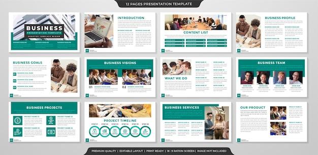 비즈니스 프로필 및 연례 보고서에 깨끗하고 미니멀 한 스타일로 사용되는 비즈니스 프레젠테이션 템플릿