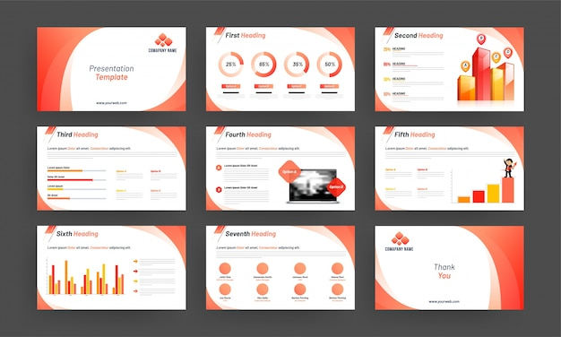 Business presentation template with infographic elements