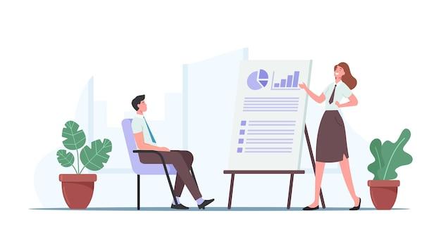 Бизнес-презентация с персонажами на тренинге или семинаре в офисе, тренер дает финансовую консультацию в совете директоров с диаграммами и графиками статистики анализа данных. мультфильм люди векторные иллюстрации
