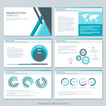 Business presentation with geometric shapes and several charts