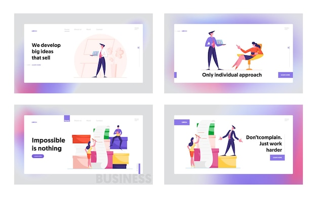 Business presentation and work with documents landing page template set