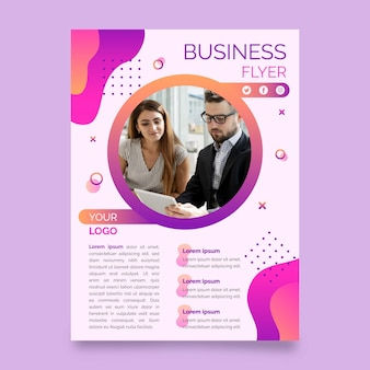 Business print template with photo
