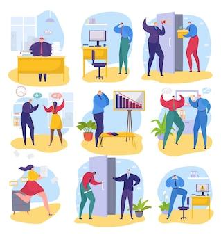 オフィスでのビジネス上の問題セットベクトルイラスト男女キャラクター従業員は紙のドキュメントで動作します。