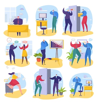 Business problem at office set vector illustration man woman character employee work with paper docu...