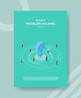 Business problem solving people around question mark for template flyer and print banner cover