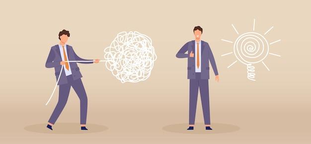 混沌と注文ラインとビジネス問題解決プロセスの概念。平らなビジネスマンのキャラクターは、絡み合ったワイヤーを線電球のベクトルのアイデアに引き込みます。明確な心と混乱または困難を抱えたマネージャー