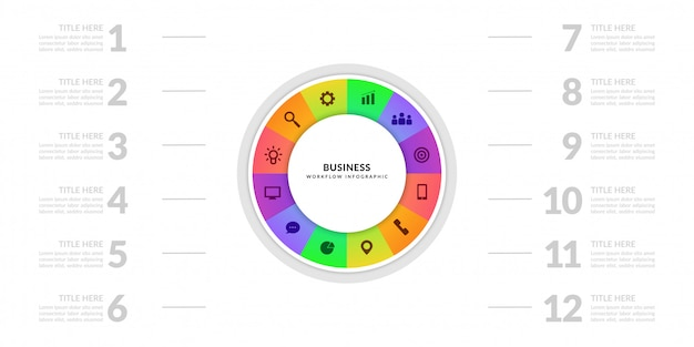 Business process chart graphic with multiple step segment, colorful cycle infographic elements