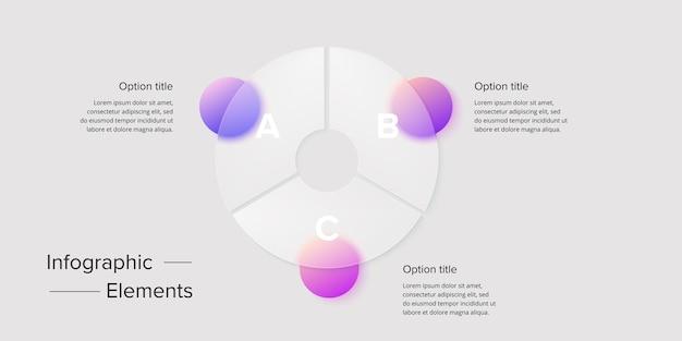 Инфографика диаграммы бизнес-процессов с 3-х шаговыми кругами круглые графические элементы корпоративного рабочего процесса слайд презентации блок-схемы компании